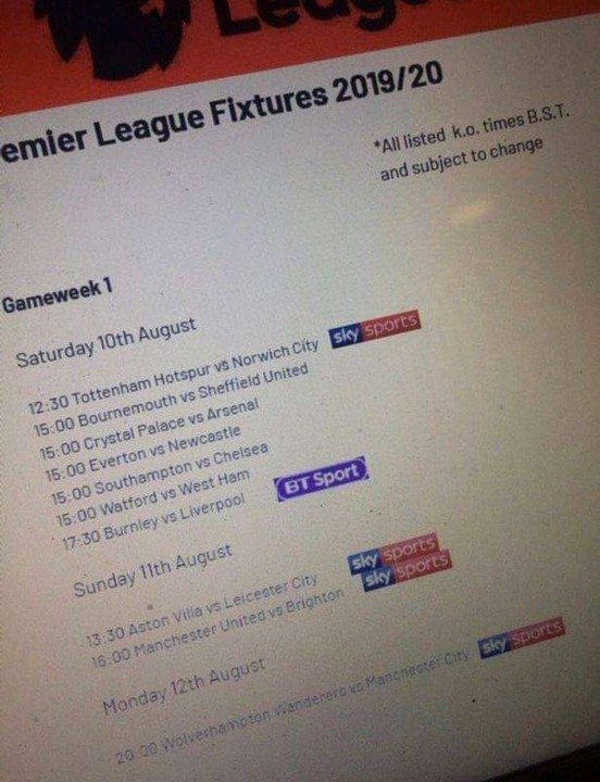 2019-2020 Premier League Fixtures Leaked Online 24 Hours Before Official Release