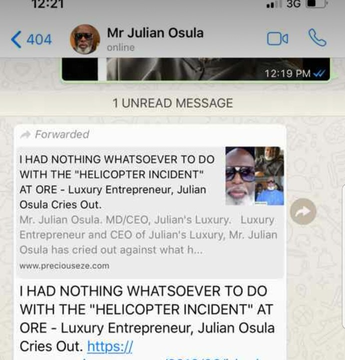 Julian Osula Denies Being Involved In The 'Helicopter Incidents At Lagos-Benin Expressway'