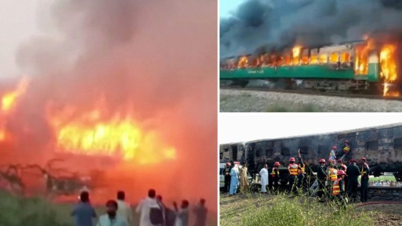 65 People Dead As Train Catches Fire After Gas Cookers Exploded In Pakistan