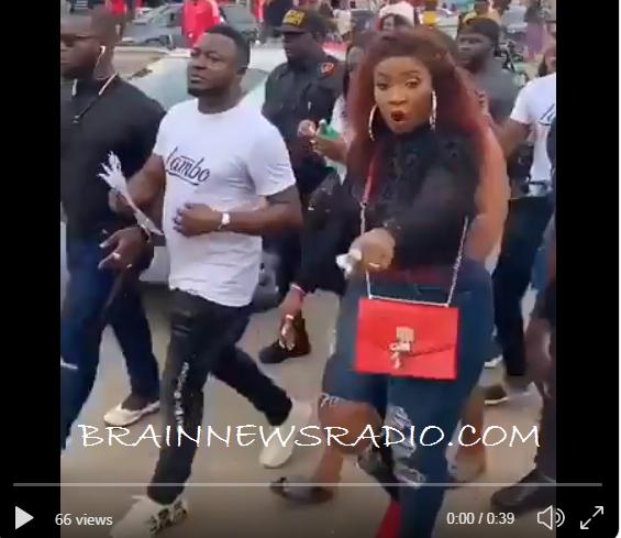 #BBNaija: MC Galaxy, Anita Joseph Campaign For Mercy In Lagos (Video)