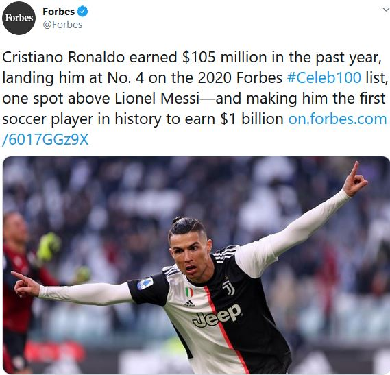 Cristiano Ronaldo Becomes The First Footballer In History To Earn $1 Billion